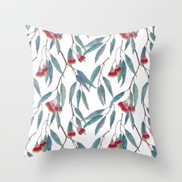 Eucalyptus leaves and flowers on light Throw Pillow