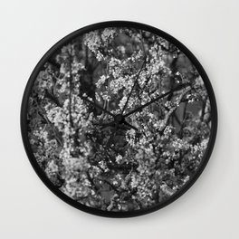 Black And White Pear Tree Blooming Wall Clock