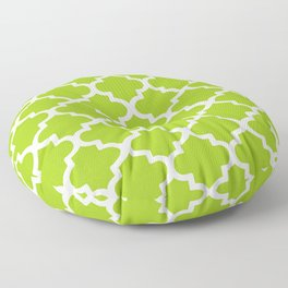 Arabesque Architecture Pattern In Lime Floor Pillow
