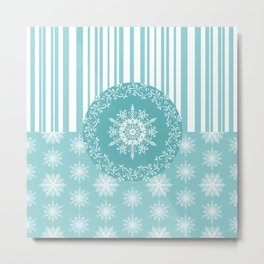 Frosty Snowflakes Coordinate Metal Print