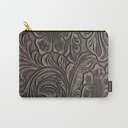 Distressed Smoky Tooled Leather Carry-All Pouch