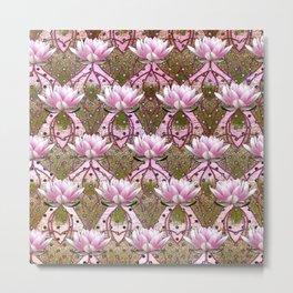 Art Deco Pink Lotus Pattern Metal Print