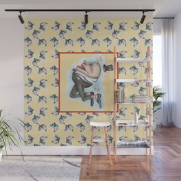 Humpty Dumpty with center image on yellow  Wall Mural