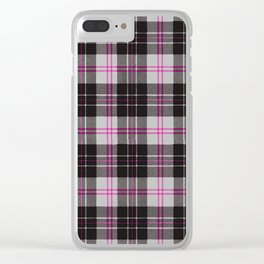 Rustic Plaid Pattern: Pink Clear iPhone Case