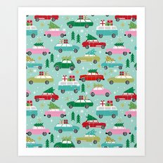 Vintage Christmas cars festive holiday traditions snow winter snowflakes classic car pattern Art Print