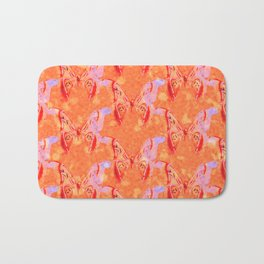 Colorful Painted Butterlies in Coral Orange Pink Color #decor #society6 #buyart Bath Mat