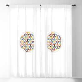 Flower of Life Retro Colors Blackout Curtain