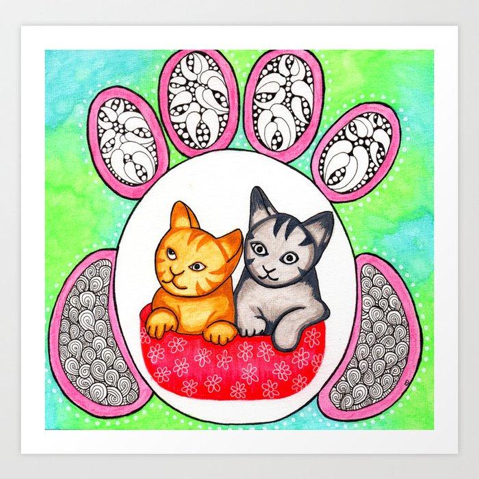 Watercolor Doodle Art | Cats! Art Print