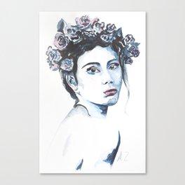 Watercolor flower girl Canvas Print