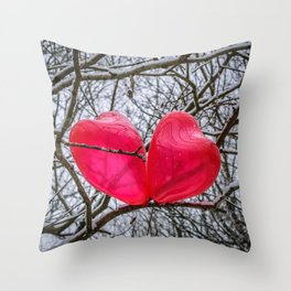 Two Little Hearts Kissing In A Tree Throw Pillow