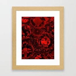 Red and Black IOOF  Woven Symbolism Tapestry Framed Art Print