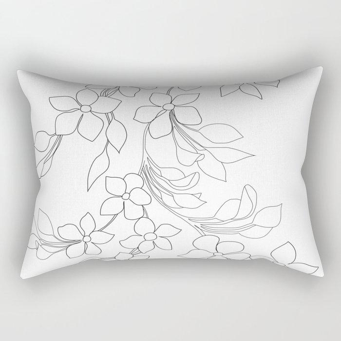 Minimal Wild Roses Line Art Rectangular Pillow