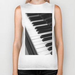 piano keys  black and white Biker Tank