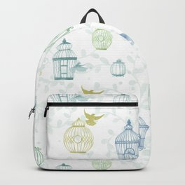 Whimsical Watercolor Birdcage Pattern Backpack