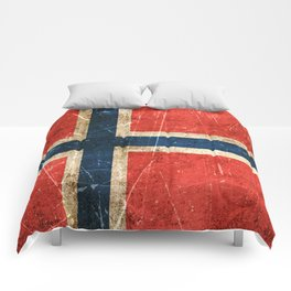 Vintage Aged and Scratched Norwegian Flag Comforters