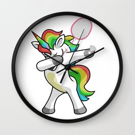 Dabbing Unicorn Badminton Funny Dancing Dab Gift Wall Clock