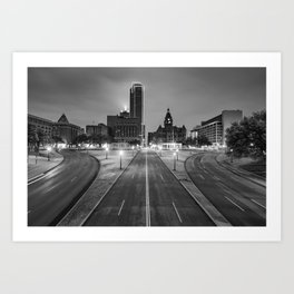 Dallas Skyline and Dealey Plaza at Dawn - Black and White Art Print