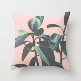 Pink Tropical Leaves Throw Pillow