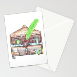 Rustic wooden house front view travel sketch from Koh Rong tropical island, Cambodia Stationery Cards