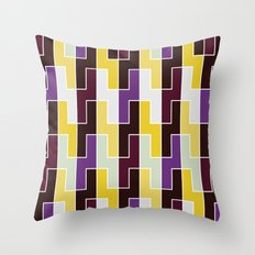 Purple & yellow rectangle pattern Throw Pillow