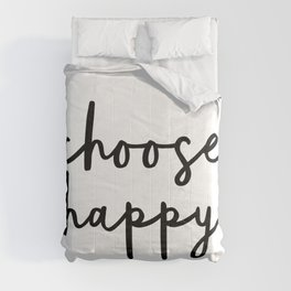 Choose Happy black and white contemporary minimalism typography design home wall decor bedroom Comforters