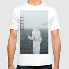 All white White LARGE Mens Fitted Tee