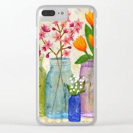 Springs Flowers in Old Jars Clear iPhone Case