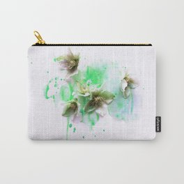 Hellebores on green water colors Carry-All Pouch