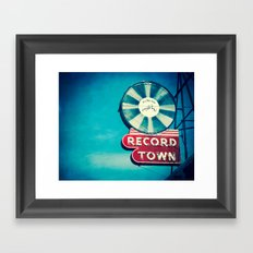 Record Town Neon Sign Framed Art Print