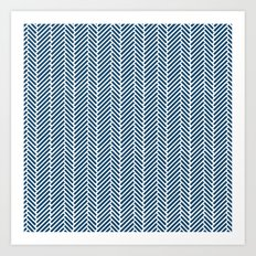 Herringbone Navy Inverse Art Print