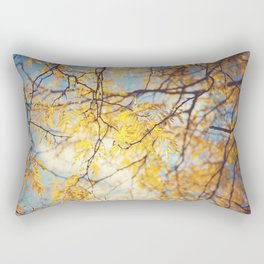 Gold Leaves and Blue Sky Rectangular Pillow
