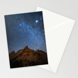 Starry Night: Brilliant Blue Stars Behind Rocky Mountain Stationery Cards