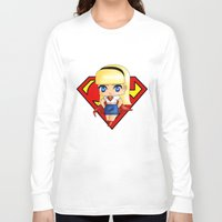 supergirl Long Sleeve T-shirts featuring Chibi Supergirl by artwaste