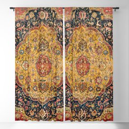 Indian Boho III // 16th Century Distressed Red Green Blue Flowery Colorful Ornate Rug Pattern Blackout Curtain
