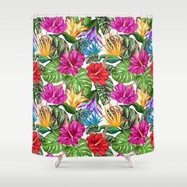 Tropical Flora Summer Mood Pattern Shower Curtain