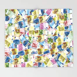 Colorful Euros Pattern - Money - LOA - Abundance - Cash Throw Blanket