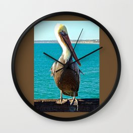Portrait of a Perky Pelican Wall Clock