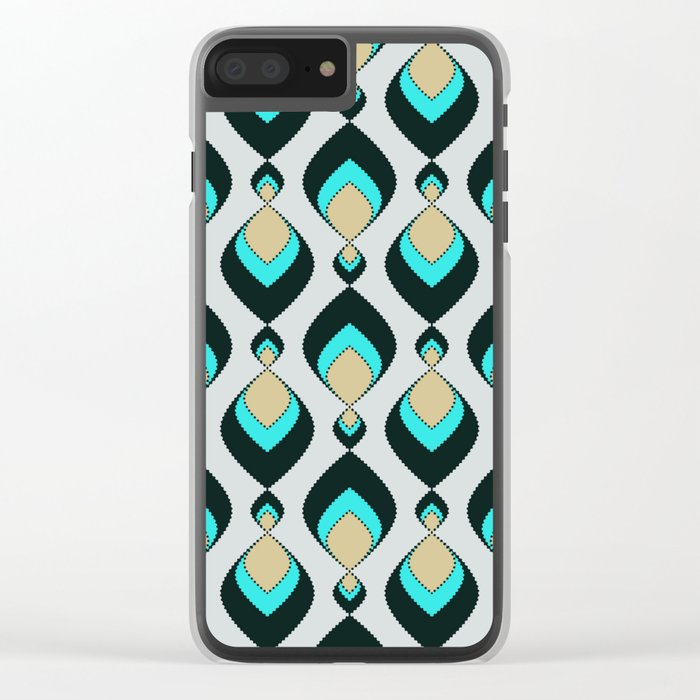 Retro pattern . A Peacock's Tail 1 . Clear iPhone Case