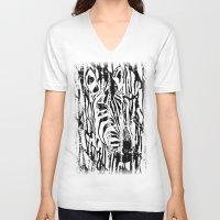 safari V-neck T-shirts featuring Zebra Safari by Alan Hogan