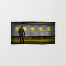 Old Man with a Cane standing along side a moving Railroad Train Passenger Coach Car Hand & Bath Towel