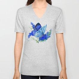 Blue Butterfly, blue butterfly lover blue room design floral nature Unisex V-Neck