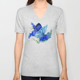 Blue Butterfly, blue butterfly lover blue room design floral nature Unisex V-Neck