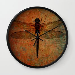 Dragonfly On Orange and Green Background Wall Clock