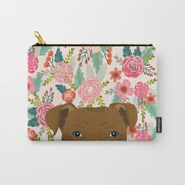 Pitbull floral dog portrait pibble peeking face gifts for dog lover Carry-All Pouch