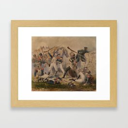 BABAEV, POLIDOR (1813-1870) The Feat of the Grenadier of the Finland Life Guards Regiment Leontiy Ko Framed Art Print