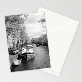 Boats on Amsterdam canal Stationery Cards