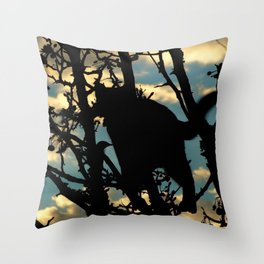 Shadow Cat and Bird Throw Pillow