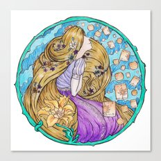 Rapunzel Art Nouveau White Background Canvas Print