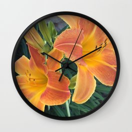 Garden Blooms - Orange Wall Clock