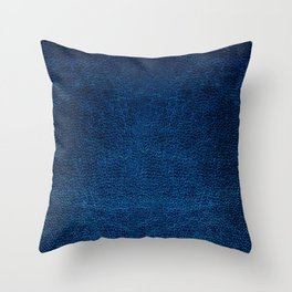 Dark blue glossy leather texture abstract Throw Pillow